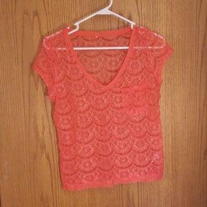 Orangey pink, v-neck tshirt